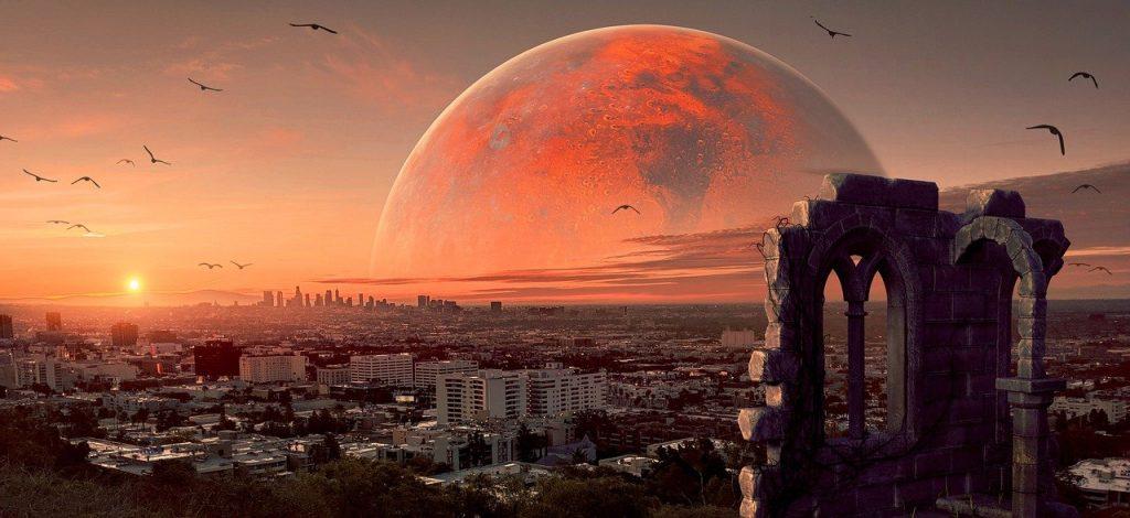city, sunset, planet