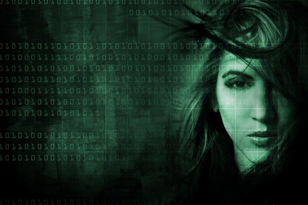 high tech, binary numbers, face
