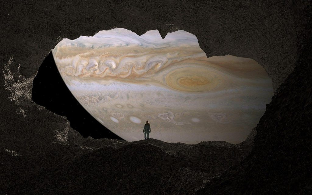 cave, jupiter, astronaut