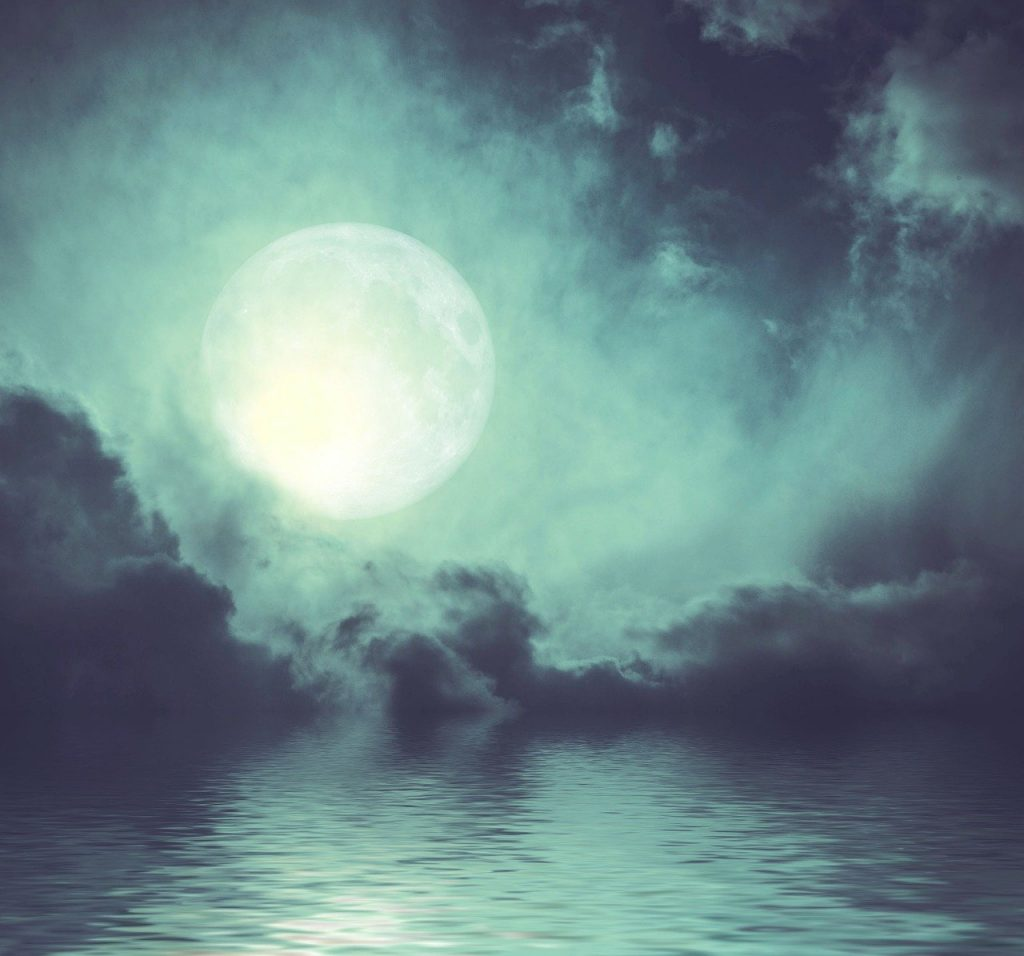 moon, clouds, lake